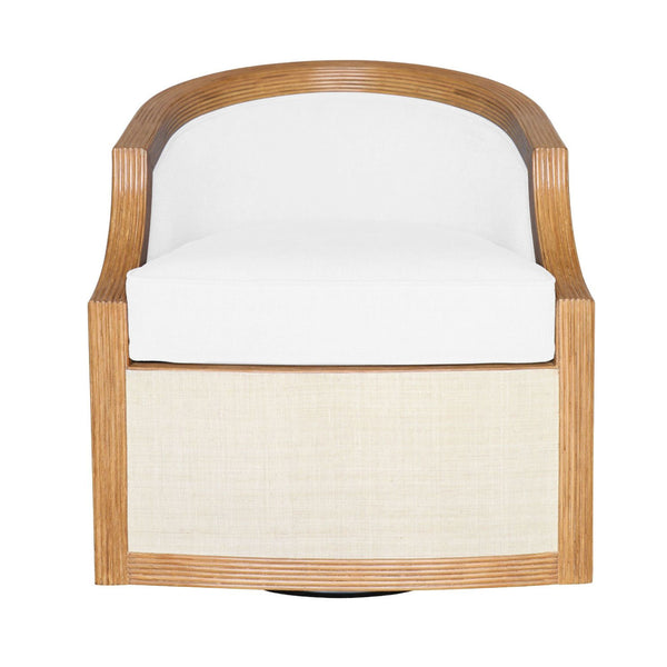 Montebello Pencil Rattan and Grasscloth Swivel
