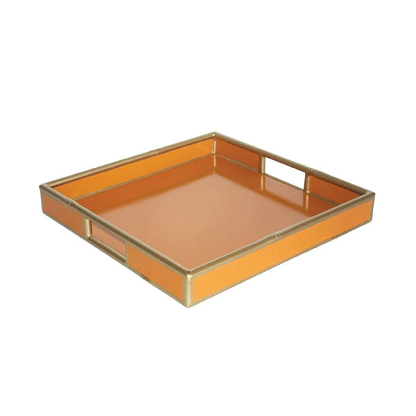 Faux Bamboo Tray - Orange