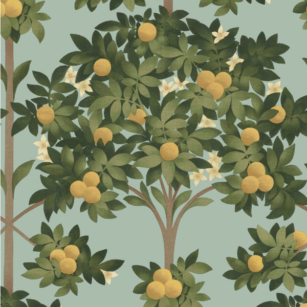 Orange Blossom in Lemon, Dark Olive Green & Duck Egg