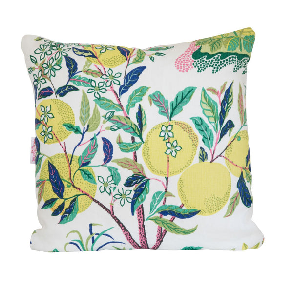 Citrus Garden Lime Pillow Featuring Yellow Fruit