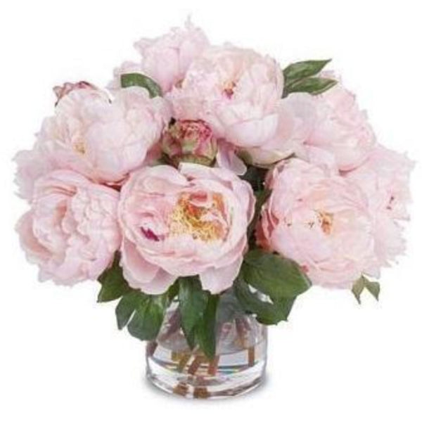 Pink Peony Bouquet in Glass Vase