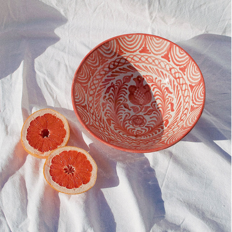 Medium Hand-Painted Coral Dish