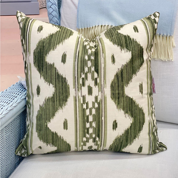Quadrille Bali Hai Pillow in Green
