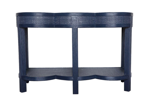 Lilo-An Scalloped Pencil Rattan Console - Navy