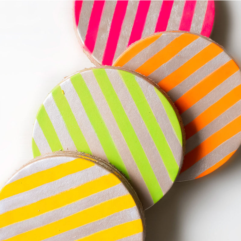 Neon Stripe Leather Coaster Set