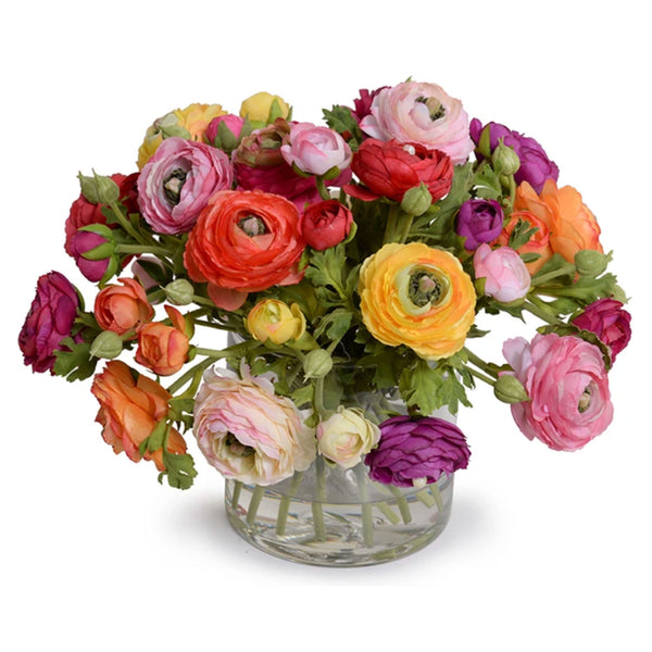 Assorted Ranunculus Bouquet in Glass Vase