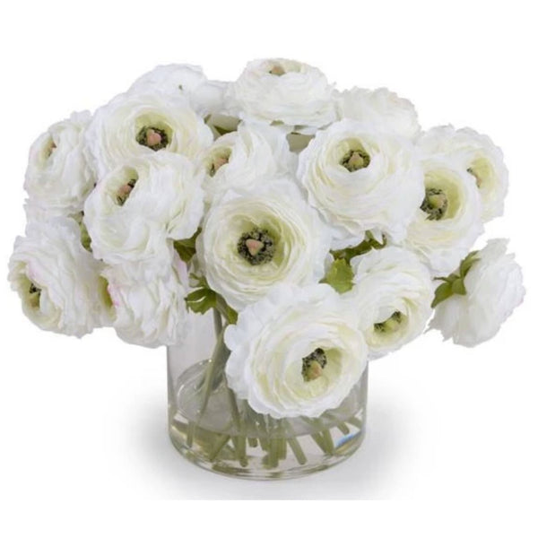 Cream Ranunculus Bouquet in Glass Vase