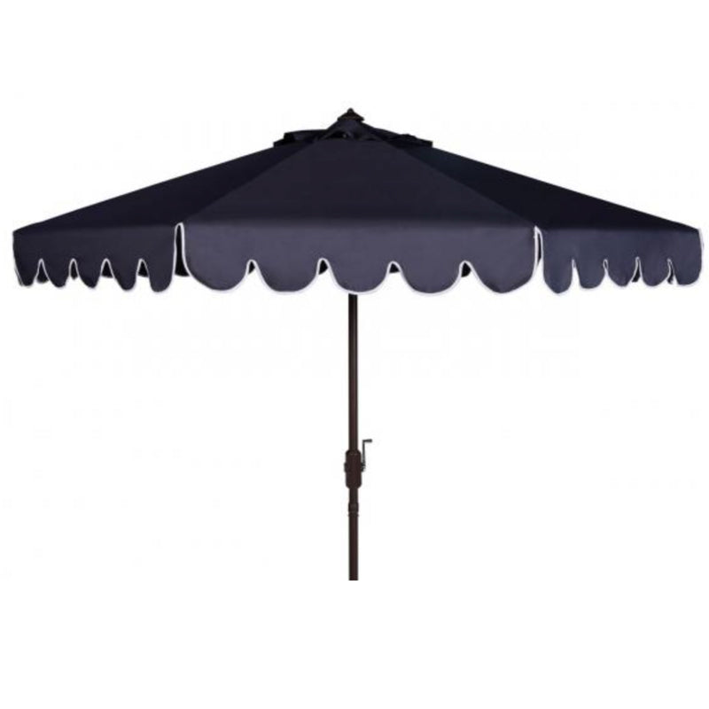 Santorini Single Scalloped Umbrella in Navy & White