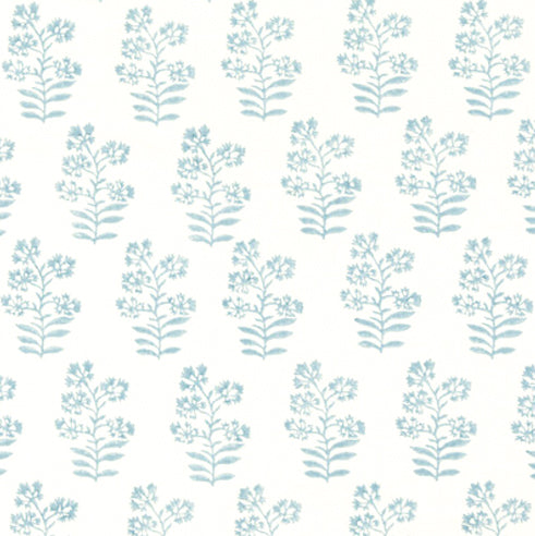 Floral Block Print- Soft Blue Fabric by the Yard