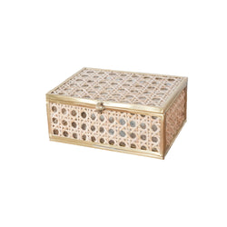 Small Natural Cane Wicker Glass Display Box