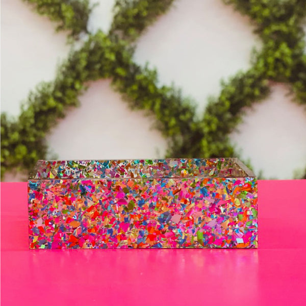 Confetti Acrylic Business Card Holder