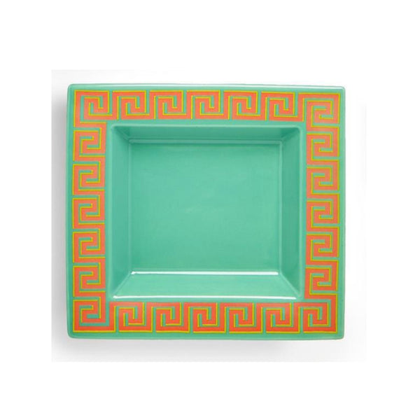 Green Greek Key Desk Tray