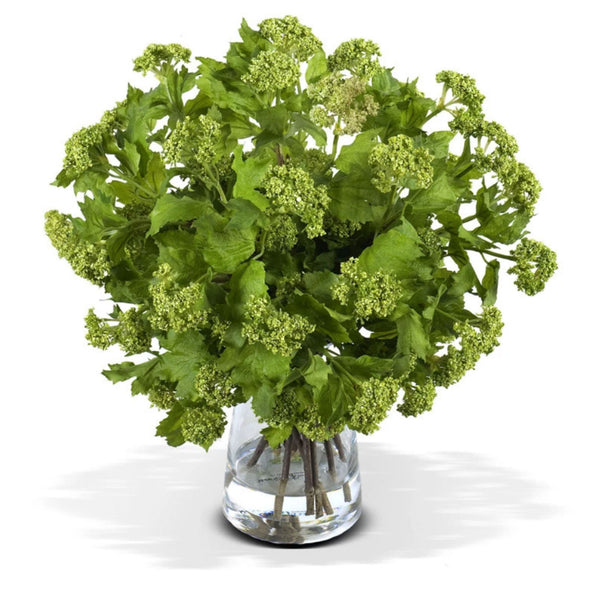 Green Viburnum Bouquet in Glass Vase