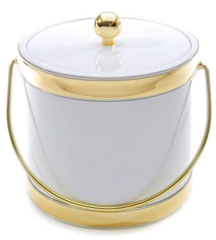 White & Gold Trim Ice Bucket