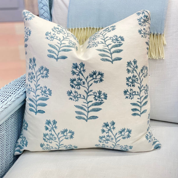 Floral Block Print Pillow in Aqua