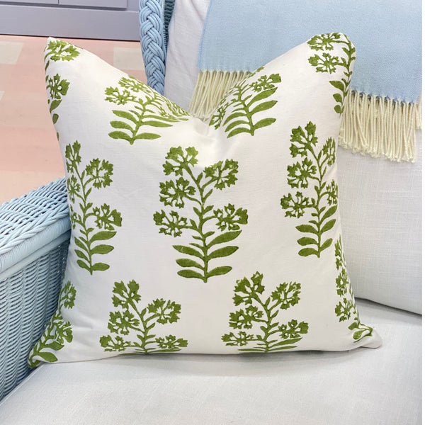 Floral Block Print Pillow in Green
