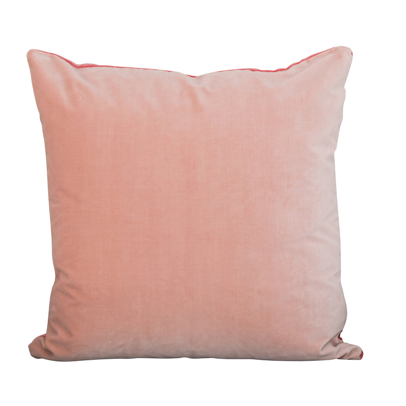 Colorblock Velvet Pillow - Blush & Berry