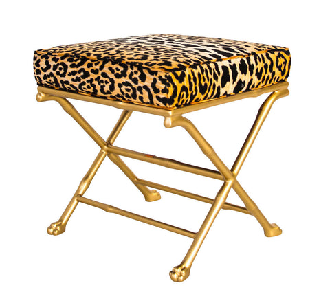 Faux Bamboo Footed X-Stool - Leopard
