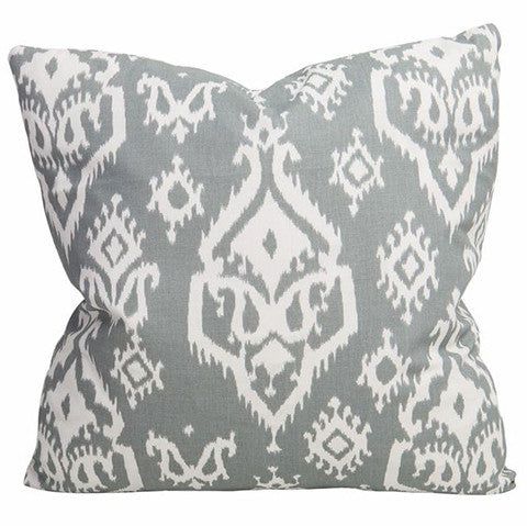 Grey Tribal Ikat Pillow