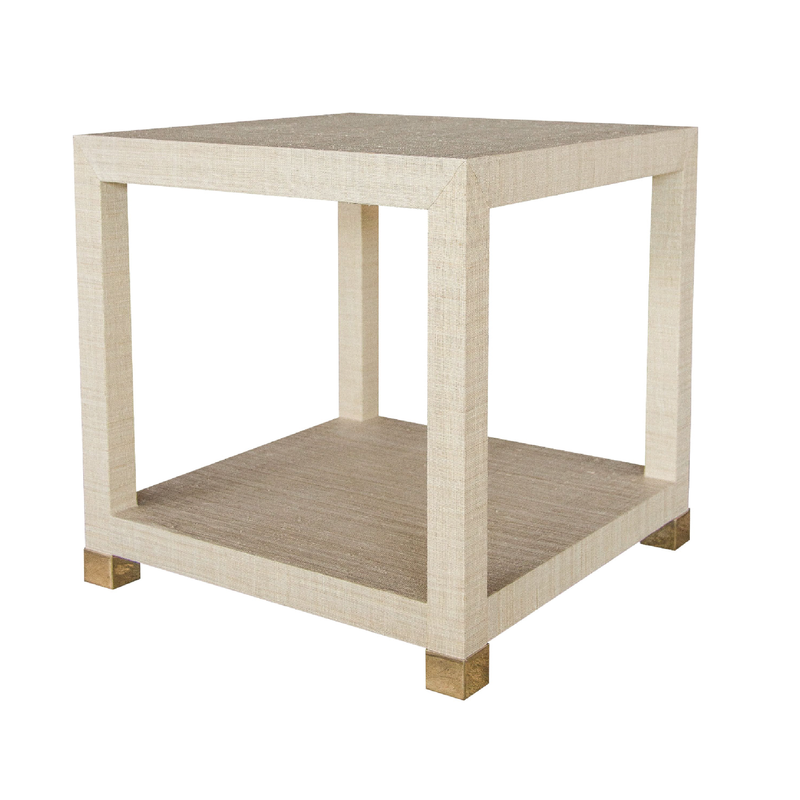 Newport Grasscloth End Table - Brass Caps