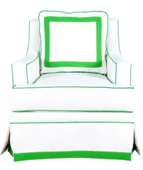 The Kate Chair - Performance Ivory, Lime Green Tape Trim + Green Piping