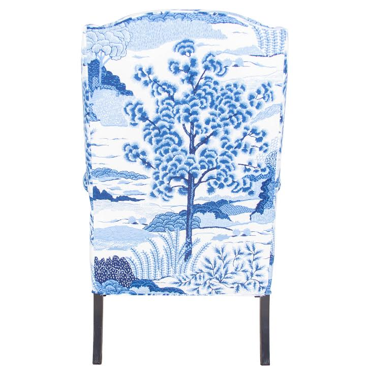 Chelsea Wing Chair - Blue & White Chinoiserie Fabric
