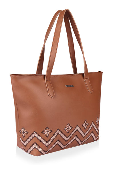 Chevron Striped Embroidery Tote - Monokrome New York