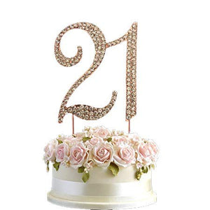 Large Rose Gold Rhinestone Crystal Diamante Birthday Cake Topper Number Pick