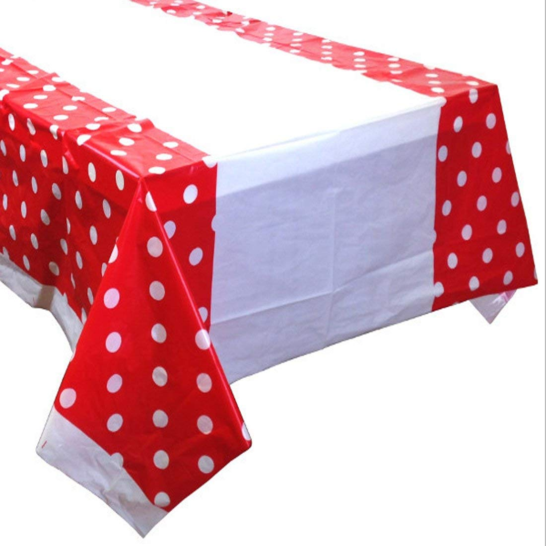 224 & Polka Dot Plastic Table Cover Disposable Party Tablecloth Covers Cloths 180cm x 110cm (red)