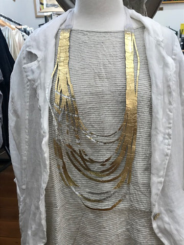 SI Illusion Long Necklace Silver/Gold