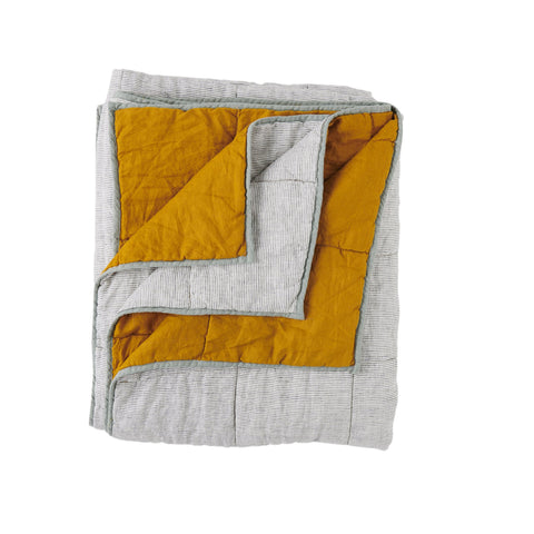 turmeric/Pinstripe Double Sided Quilt - KING