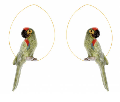 Porcelain Green Parrot Earrings-Nach-Bristle by Melissa Simmonds