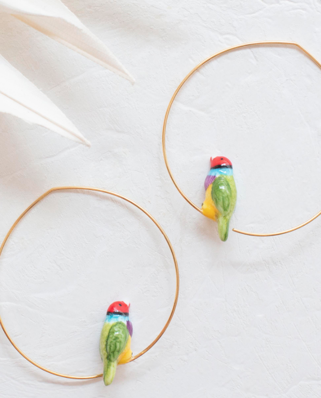 Porcelain Gouldian Finch Bird Hoop Earrings-Nach-Bristle by Melissa Simmonds