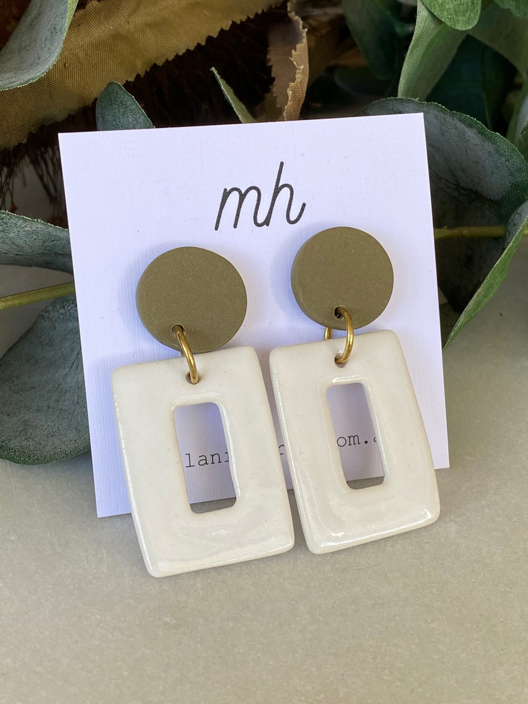 MH Ceramic Earrings - Porcelain/polymer large Rectangle