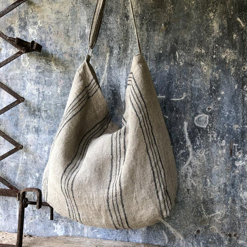 Oversized Linen Bag - Natural & Black Stripe-Meg by Design-Bristle by Melissa Simmonds