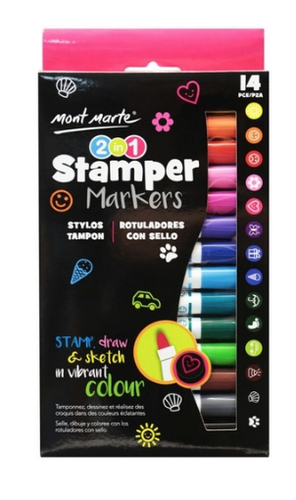 2 in 1 Stamper Marker 14pc-Mont Marte-Bristle by Melissa Simmonds