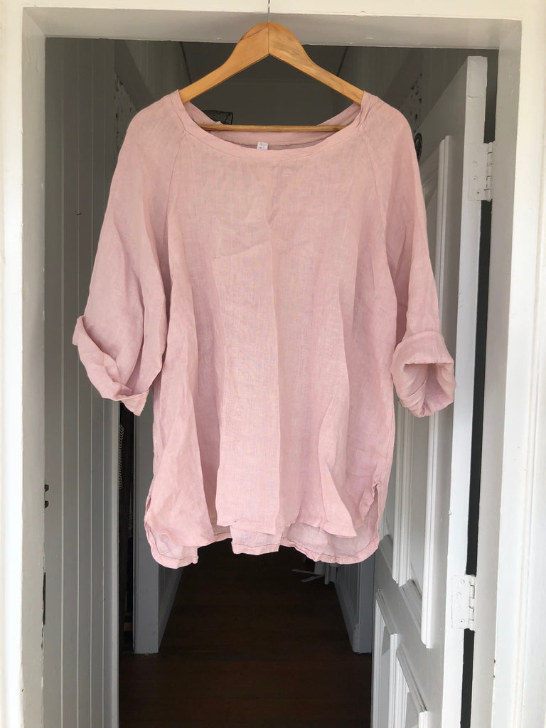 Giorgia Linen Top - Dusty Pink