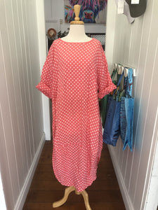 Tulip Dress - Apricot Pink Polka Dot-DiModa-Bristle by Melissa Simmonds