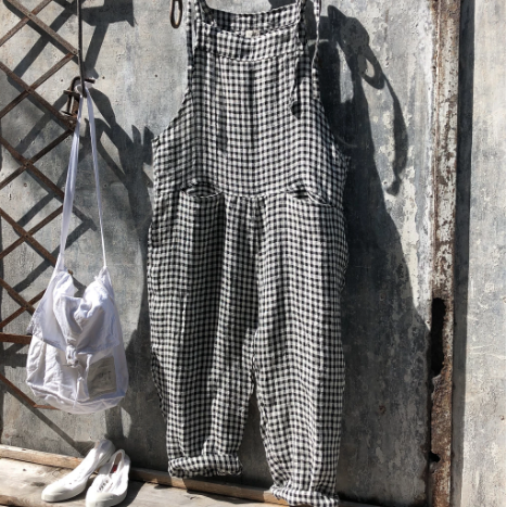 Dungarees Linen Black and White Gingham