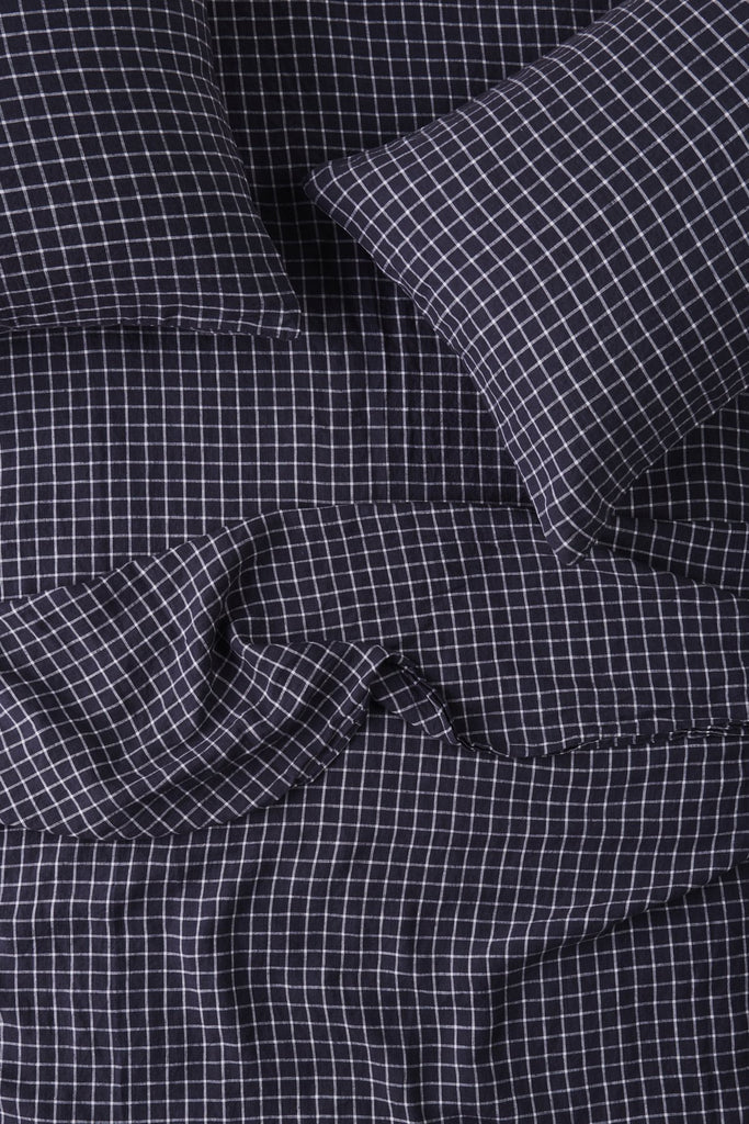 King Fitted Sheet - French Navy Grid