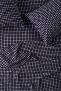King Flat Sheet - French Navy Grid-Society of Wanderers-Bristle by Melissa Simmonds