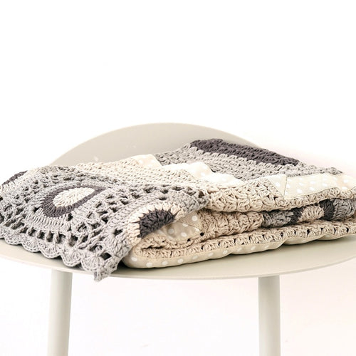 Grey and Cream Hand Crochet Blanket-And The Little Dog Laughed-Bristle by Melissa Simmonds