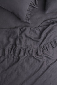 Queen Flat Ruffle Sheet (Charcoal)-Society of Wanderers-Bristle by Melissa Simmonds