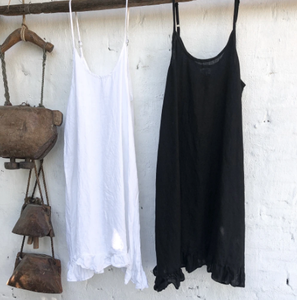 Eliza Linen Slip Dress Black