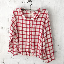 Load image into Gallery viewer, Avery Linen Shirt - White and Red Grid
