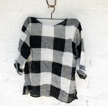 Load image into Gallery viewer, Jane Linen Top - Black and White Squares-Meg by Design-Bristle by Melissa Simmonds