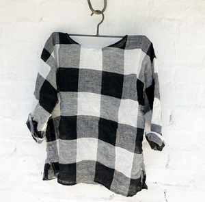 Jane Linen Top - Black and White Squares-Meg by Design-Bristle by Melissa Simmonds