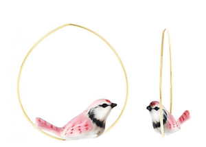 Porcelain Pink Jay Bird Earrings