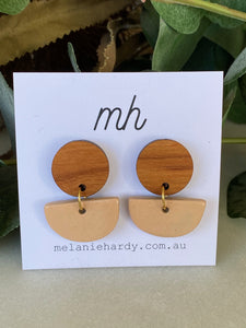 MH Ceramic Earrings - Medium Bamboo Disc with Pink Half Circles