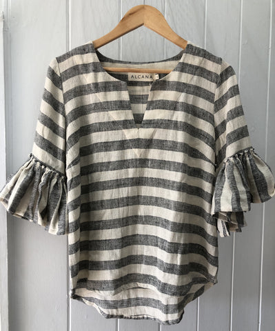 Cassie Tee - Charcoal Stripe